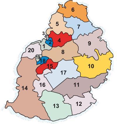Les 20 circonscriptions de l'Ile Maurice. Crédit photo: Le Mauricien.