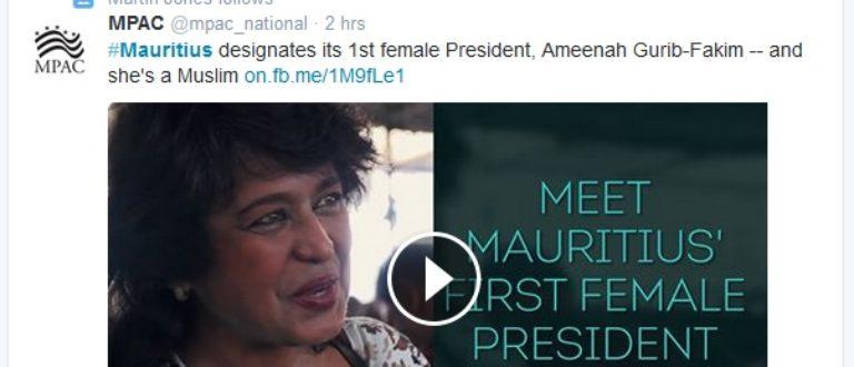 Article : Ile Maurice : une présidente nommée Ameenah