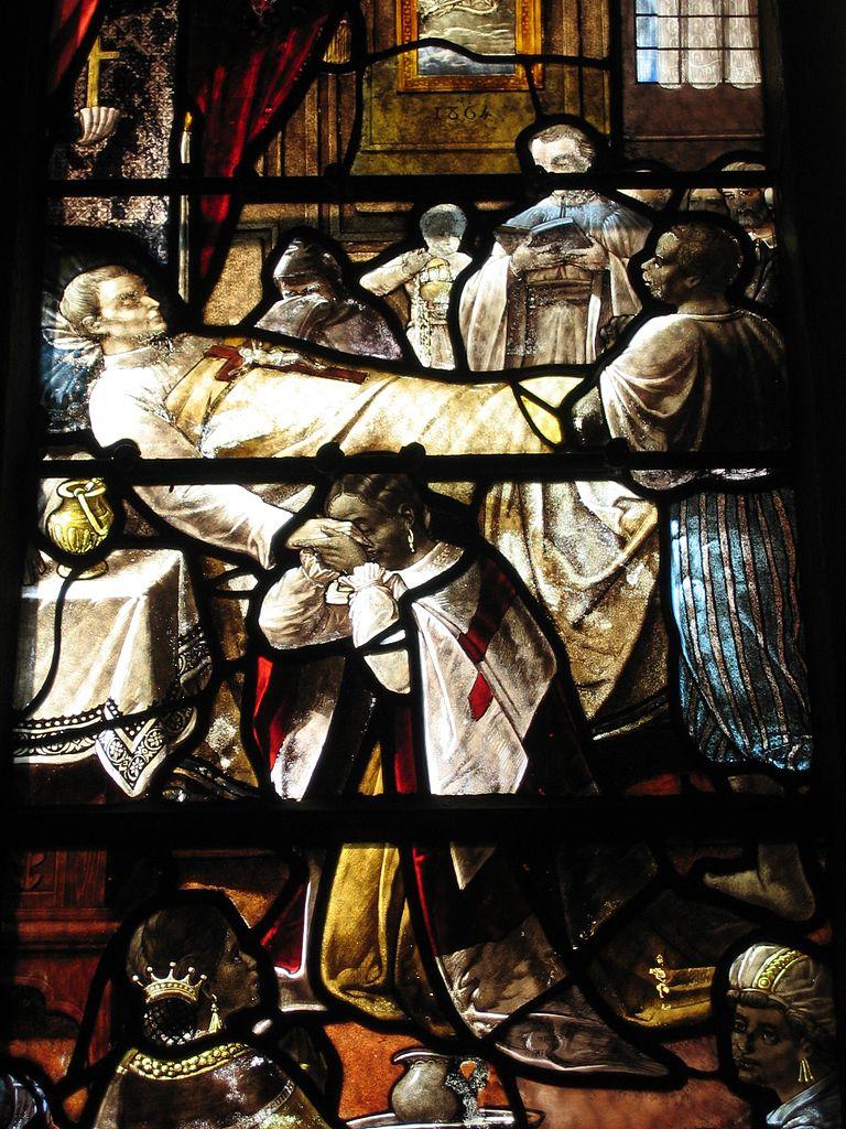 Vitrail de l'église de Sainte Croix représentant le decès du Père Laval.