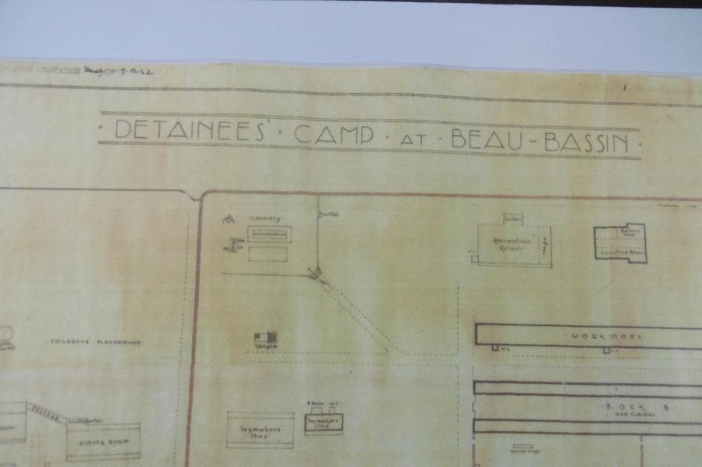Plan du camp de détention des juifs à la prison de Beau-Bassin.
