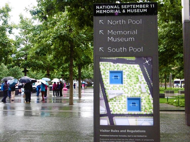 Plan qui indique les divers éléments du 9/11 Memorial à Manhattan.