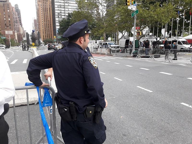 Forte mobilisation de la NYPD aux abords des Nations Unies! Photo: CR