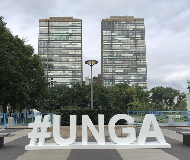 Le fameux hashtag géant UNGA! Photo: CR